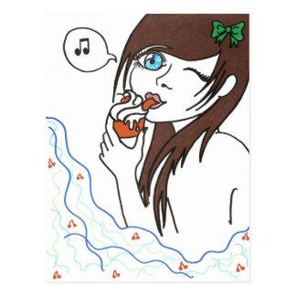Girl with Cupcake Postcard