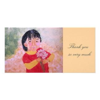 Girl With Daisies Acrylic Art Photo Card
