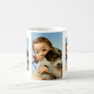 Girl with dog. coffee mug