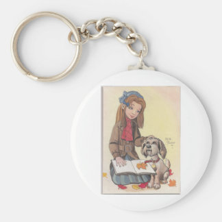 Girl with Dog Keychain