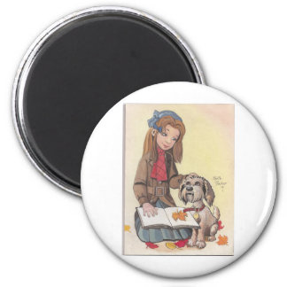 Girl with Dog 2 Inch Round Magnet