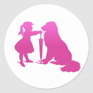 Girl with Dog Nursery Silhouette Gradient Pink Art Classic Round Sticker