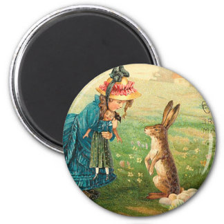 Girl With Doll and Rabbit Vintage Easter Magnet