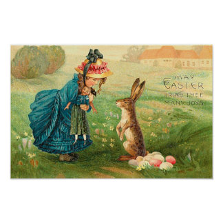 Girl With Doll and Rabbit Vintage Easter Poster