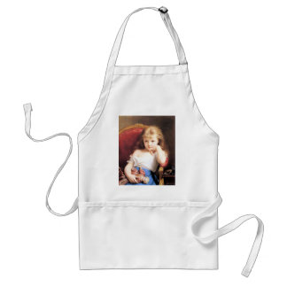 Girl with Doll antique painting Adult Apron