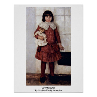 Girl With Doll By Surikov Vasily Ivanovich Posters