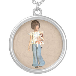 Girl with doll round pendant necklace