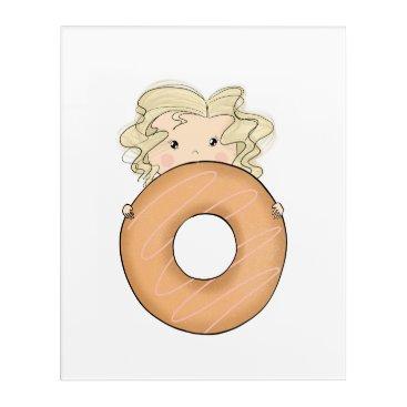 Art Themed Girl With Donut Acrylic Wall Art