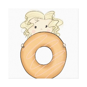 Art Themed Girl With Donut Canvas Print