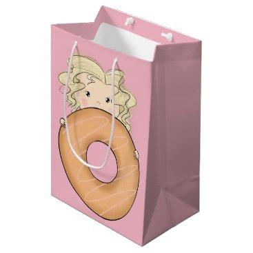 Art Themed Girl With Donut Medium Gift Bag