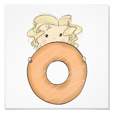 Art Themed Girl With Donut Photo Print
