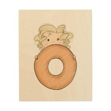Art Themed Girl With Donut Wood Wall Decor