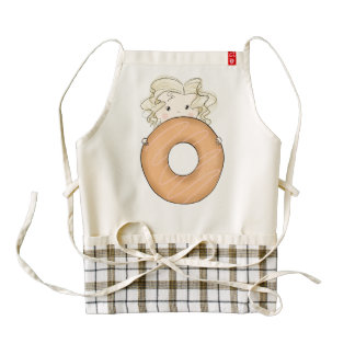 Girl With Donut Zazzle HEART Apron