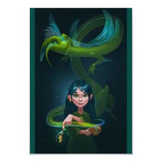 Girl with dragon card