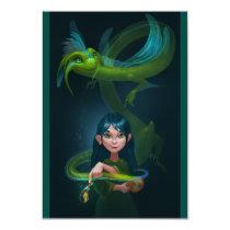 Girl with dragon invitation