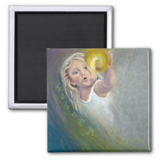 Girl with Expression of Wonder on Face 2 Inch Square Magnet