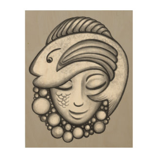 Girl With Fish Hat Charcoal Wood Wall Decor