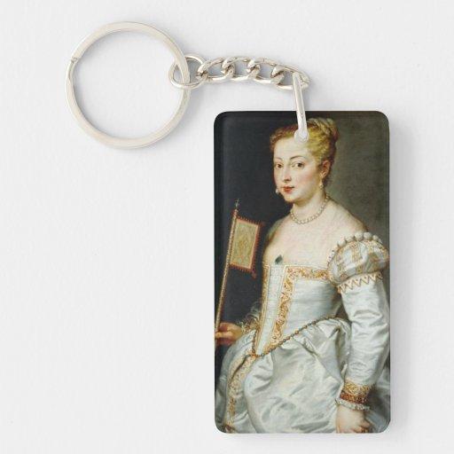 Girl with flag Peter Paul Rubens  oil portrait Rectangular Acrylic Keychains