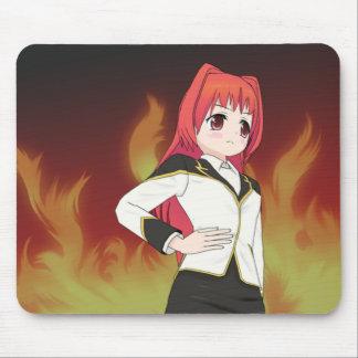 Girl with Flames Manga Mouse Pad