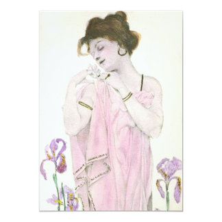 Girl with Flower Art Nouveau Invitations