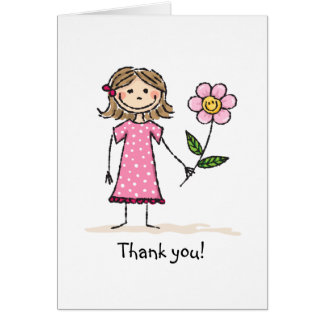 Girl with flower thank you card