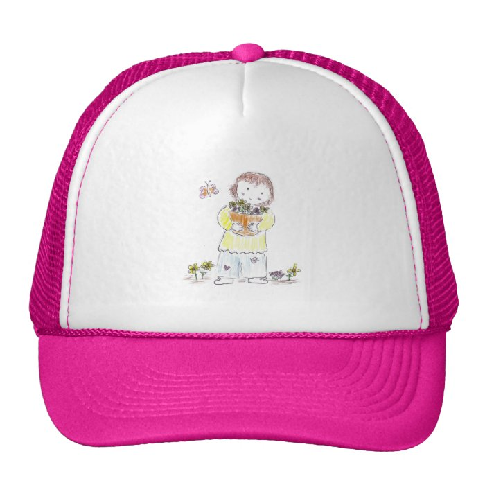 Girl with flowers and butterfly trucker hat