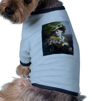 Girl with Flowers and Hat painting Doggie Shirt