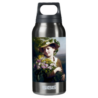 Girl with Flowers and Hat painting Insulated Water Bottle