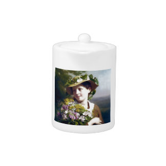Girl with Flowers and Hat painting
