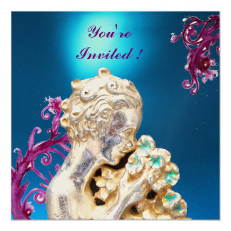GIRL WITH FLOWERS ,Blue Sapphire 5.25x5.25 Square Paper Invitation Card