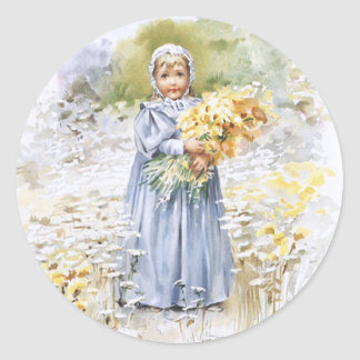 Girl with Flowers Classic Round Sticker