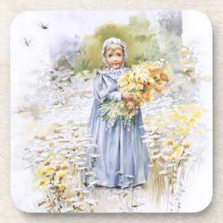 Girl with Flowers Drink Coasters