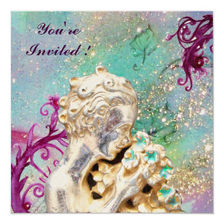 GIRL WITH FLOWERS IN GOLD SPARKLES ,Blue Sapphire Card