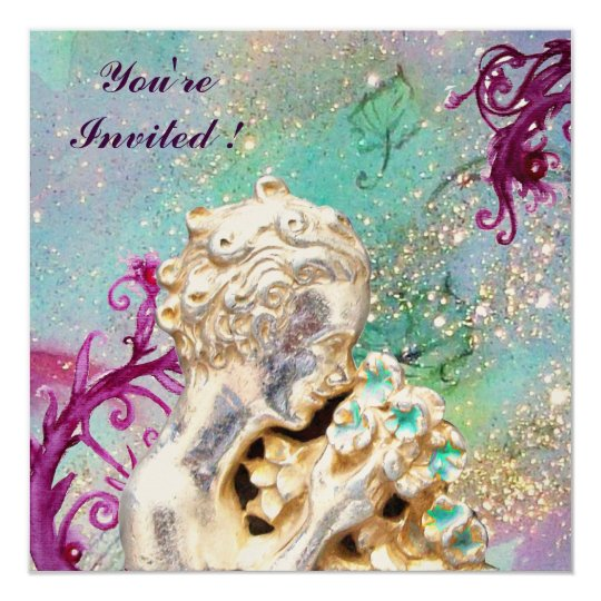 GIRL WITH FLOWERS IN GOLD SPARKLES ,Pink Amethyst Card