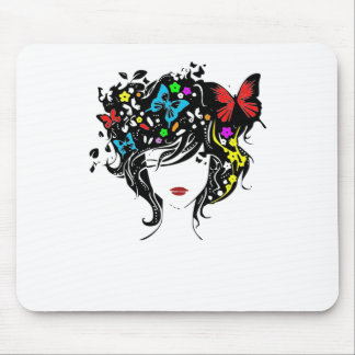 girl with flowers in hair mouse pad