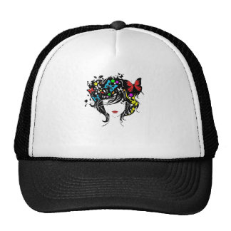 girl with flowers in hair trucker hat