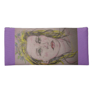 girl with flowers in her hair pencil case