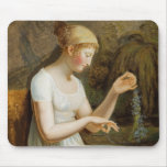 Girl with Flowers Mouse Pad