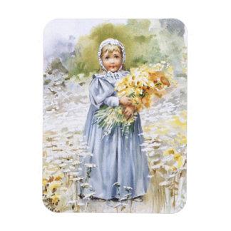 Girl with Flowers Rectangular Magnet