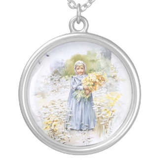 Girl with Flowers Round Pendant Necklace