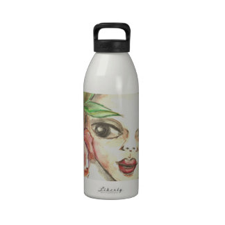 Girl with Flowers Water Bottle