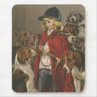 Girl with Foxhounds Mouse Pad