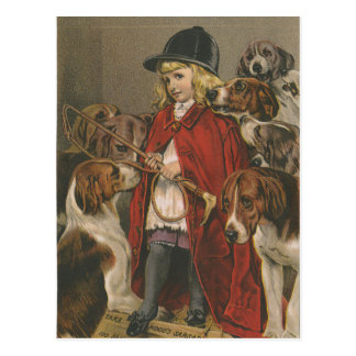 Girl with Foxhounds Postcard