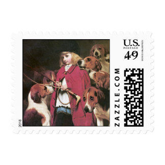Girl with Foxhounds - Small Postage Stamp