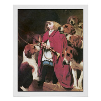 Girl with Foxhounds - Vintage Art Poster by Barber