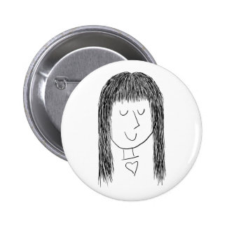 Girl with Fringe 2 Inch Round Button