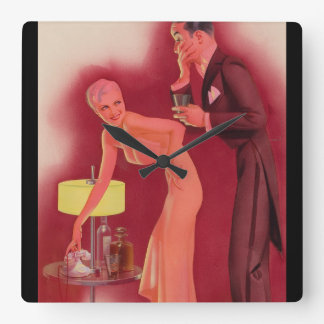 Girl with Gentleman Pin Up Art Square Wall Clock