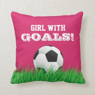 Girl With Goals! Soccer Football Ball Pink Pillow
