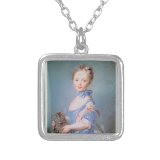 Girl with gray cat silver plated necklace