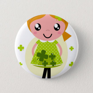 Girl with Green four leaves flowers Button